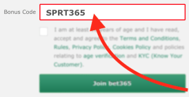The Bet365 bonus code field shown during desktop user registration - SPRT365