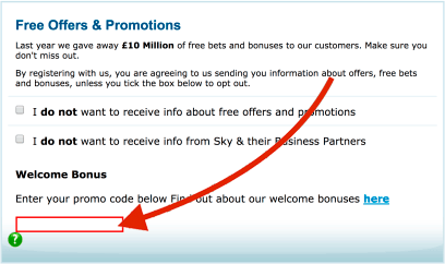 Sky bet promo code location