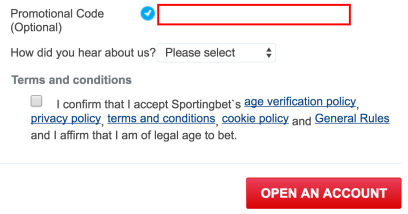Sportingbet account opening form with promo code box.