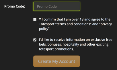 Totesport account creation form with promo code box